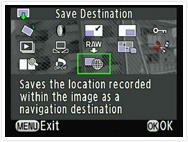 Select a destination from GPS data stored on recorded images.