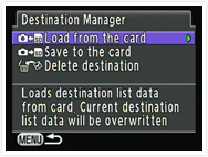 Select a destination from location data files created on your PC.